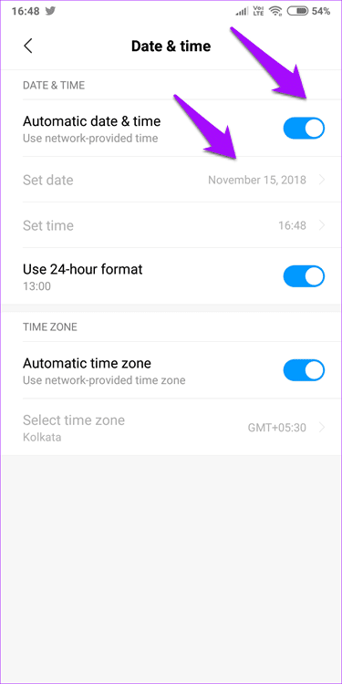 Disable Automatic Date and Time On Android
