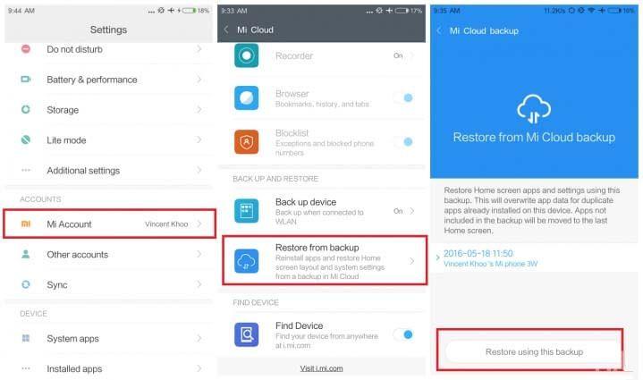 Restore Xiaomi Phone Data From Mi Cloud Backup
