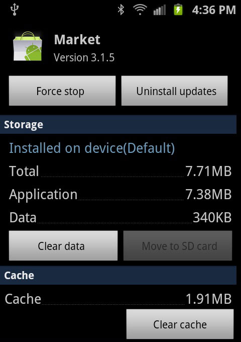 Clear App's Cache and Clear App's Data
