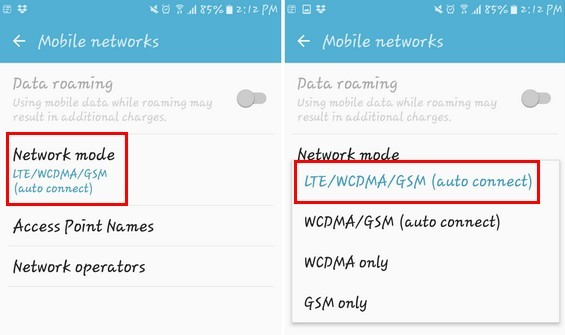 Set Network Mode To Auto
