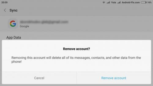 Tap On Remove Account